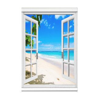 Tropical Beach Ocean View Faux Window Canvas Print