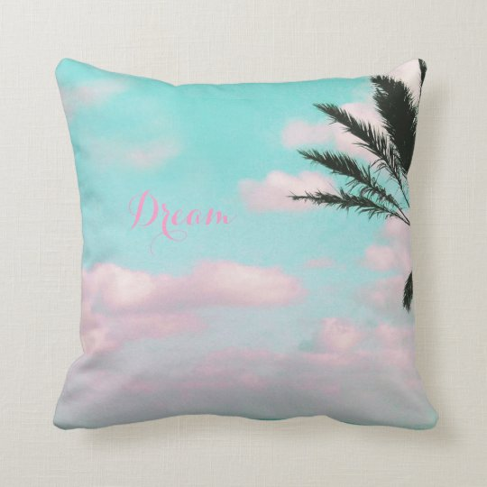 Tropical Beach, Ocean View, Palm Beautiful Throw Pillow
