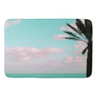 Tropical Beach, Ocean View, Pink Clouds, Palm Bath Mat