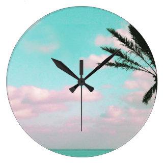 Tropical Beach, Ocean View, Pink Clouds, Palm Large Clock