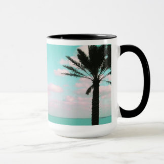 Tropical Beach, Ocean View, Pink Clouds, Palm Mug