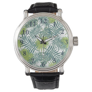 Tropical Beach Palm Leaves Art Graphic Watches