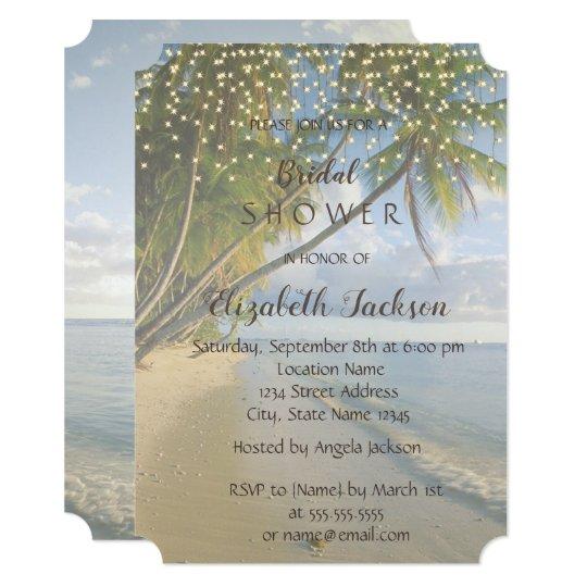 Tropical Beach,Palm ,String Lights  Bridal Shower Card