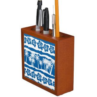 Tropical beach palm stripes desk organizer