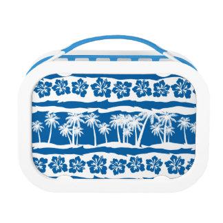 Tropical beach palm stripes lunch box