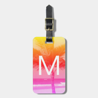 Tropical Beach & Palm Tree Initial Pink/Orange Luggage Tag