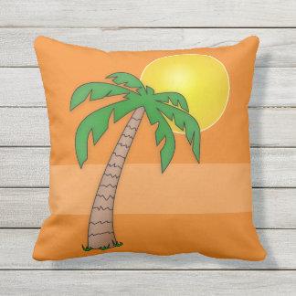 Tropical Beach Palm Tree Island Sunset on Orange Outdoor Pillow