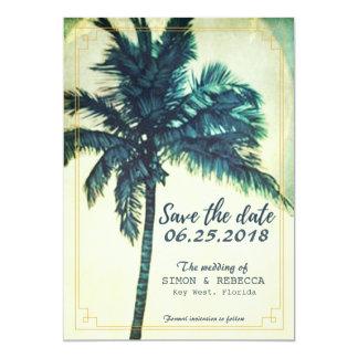"Tropical Beach Palm Tree Key West Save the Date 5"" X 7"" Invitation Card"