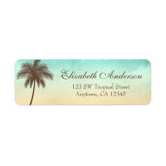 Tropical Beach Palm Tree Personalized Return Address Label