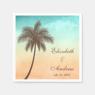 Tropical Beach Palm Tree Personalized Wedding Paper Napkin