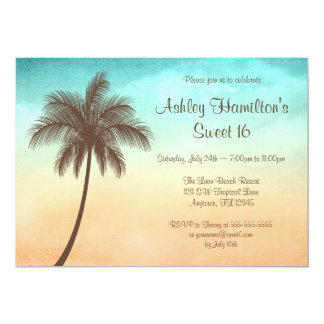 "Tropical Beach Palm Tree Sweet 16 5"" X 7"" Invitation Card"