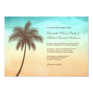 Tropical Beach Palm Tree Wedding Invitations Custom Invitation
