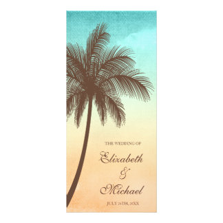 Tropical Beach Palm Tree Wedding Program Full Color Rack Card