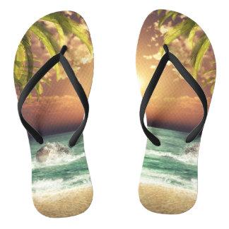 Tropical Beach Palm Trees Flip Flops
