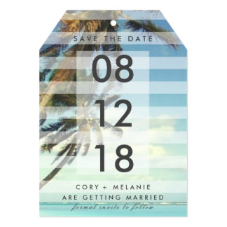 Tropical Beach Palm Trees Photo Save the Date Tags Card