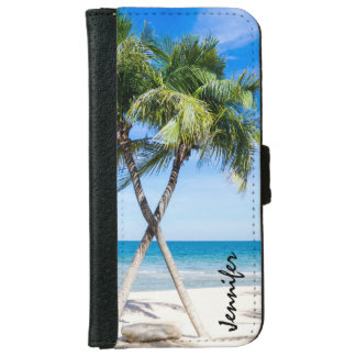 Tropical Beach Palm Trees with Name iPhone 6 Wallet Case
