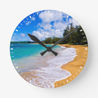 Tropical beach paradise, Hawaii Round Clock