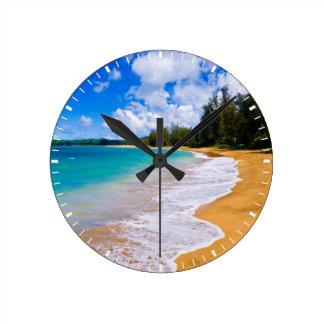 Tropical beach paradise, Hawaii Wall Clocks