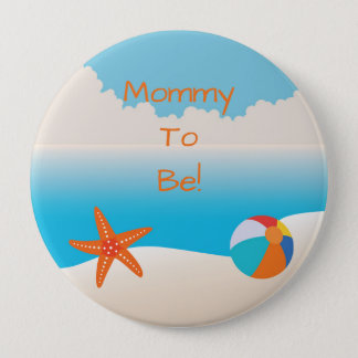 Tropical Beach Personalized Mommy to Be Button