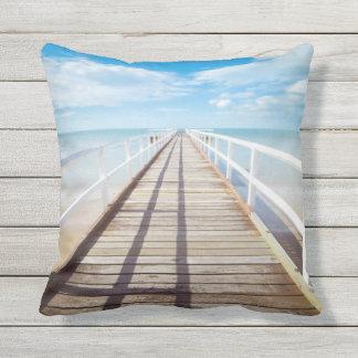 Tropical Beach Pier Outdoor Throw Pillow