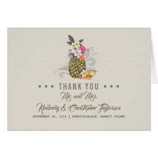 Tropical Beach Pineapple Thank You Card