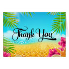 Tropical Beach Pink Hibiscus Thank You Card