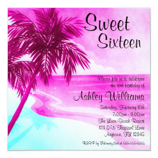 Tropical Beach Pink Sweet 16 Birthday Invitations