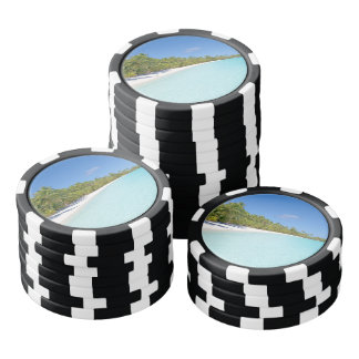 Tropical beach poker chips