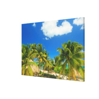Tropical beach resort, Belize Canvas Print