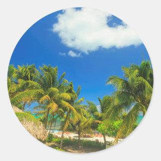 Tropical beach resort, Belize Classic Round Sticker