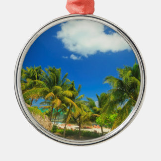 Tropical beach resort, Belize Metal Ornament