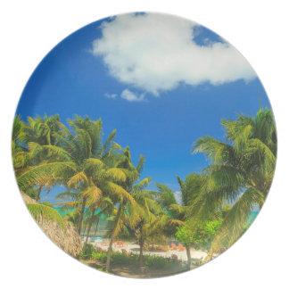 Tropical beach resort, Belize Plate