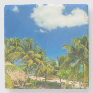Tropical beach resort, Belize Stone Coaster