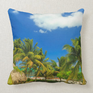 Tropical beach resort, Belize Throw Pillow