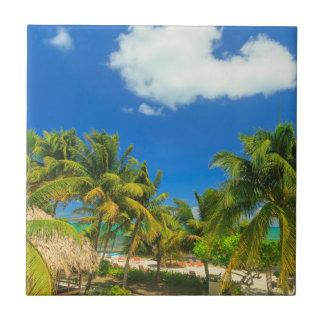 Tropical beach resort, Belize Tile