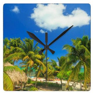 Tropical beach resort, Belize Wallclock