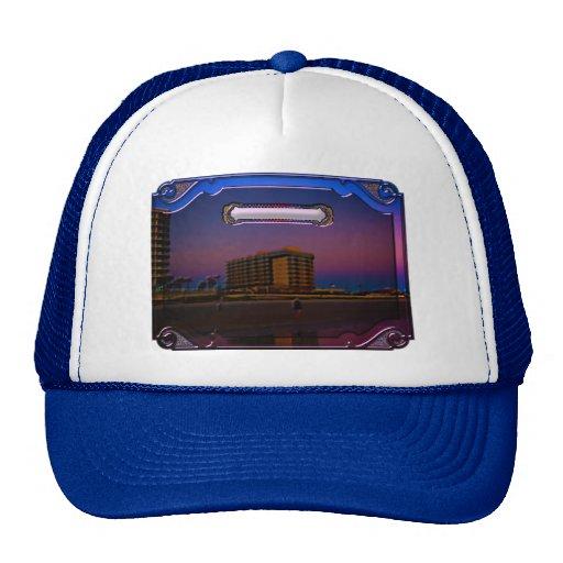 Tropical Beach Resorts at Dawn Digital Framed Art Mesh Hat