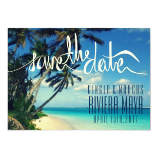 Tropical Beach Riviera Maya, Mexico Save the Date Card