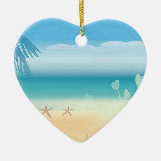 Tropical Beach Romance Ceramic Ornament