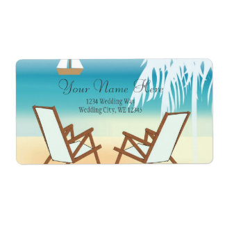 Tropical Beach Romance- Palm tree with hearts Shipping Label