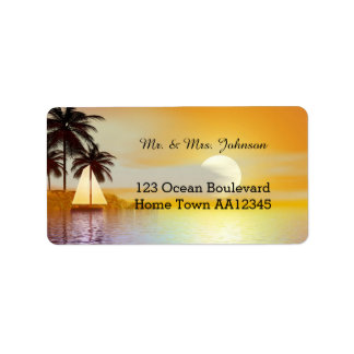 Tropical Beach Sailing Romantic Address Label