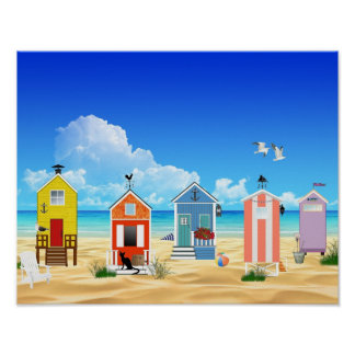 Tropical Beach Sand Huts Poster