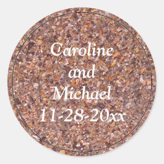 Tropical Beach Sand Pebbles Shells Custom Wedding Classic Round Sticker