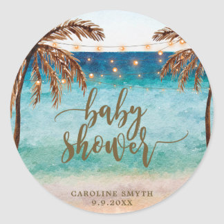 tropical beach scene baby shower favors sticker