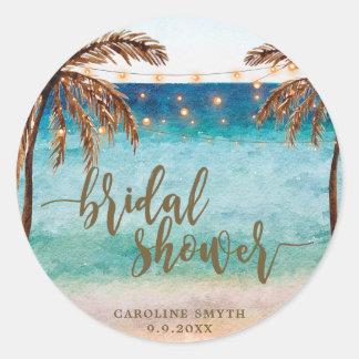 tropical beach scene bridal shower favors sticker