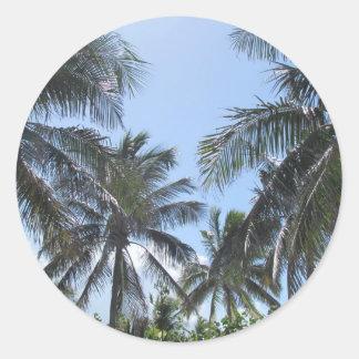 Tropical Beach Scene Classic Round Sticker