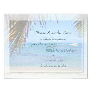 Tropical Beach Scene Custom Save the Date Card