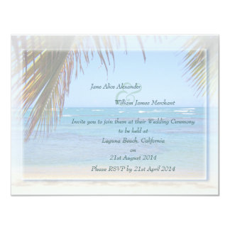 Tropical Beach Scene Custom Wedding Invitation
