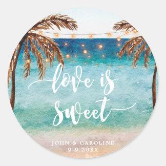 tropical beach scene love is sweet favors sticker