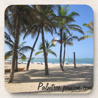 tropical beach scene on drink coaster